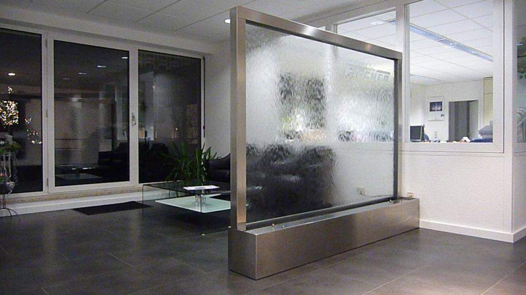 Raumteiler aus glas badezimmer beton modern glaswand dusche raumteiler aus glas und stahl - Wasserwand wohnzimmer ...