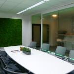 Besprechungsraum mit Wasserwand und Pflanzenwand